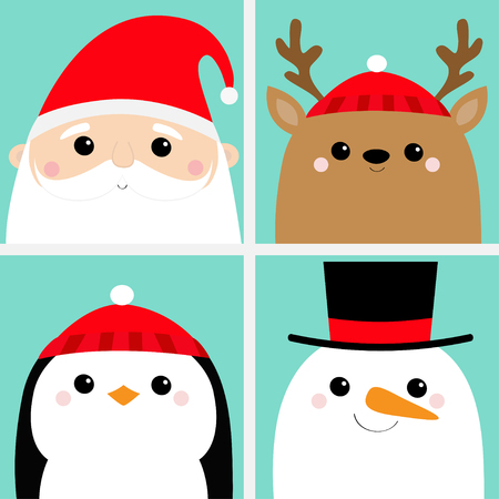 Santa Claus Raindeer Deer Snowman Penguin bird face head icon set. Merry Christmas. New Year. Cute cartoon funny kawaii baby character. Greeting card. Flat design Blue background. Vector illustration