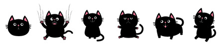 Black fat cat set. Nail claw scratch, sitting, smiling. Cute cartoon kawaii funny character. Excoriation track line. Baby pet collection. White background. Isolated. Flat design Vector illustration