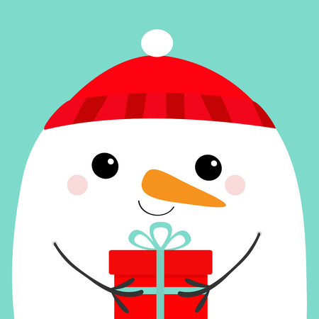 Snowman head face holding gift box. Red hat. Merry Christmas. Happy New Year. Cute cartoon kawaii baby character. Funny animal. Flat design. Hello winter. Blue background. Vector illustration
