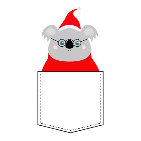 Koala face head. Red Santa hat, sweater, glasses. T-shirt pocket. Merry Christmas. Kawaii animal. Cute cartoon bear funny baby character. New Year. Flat design. White background. Isolated. Vector