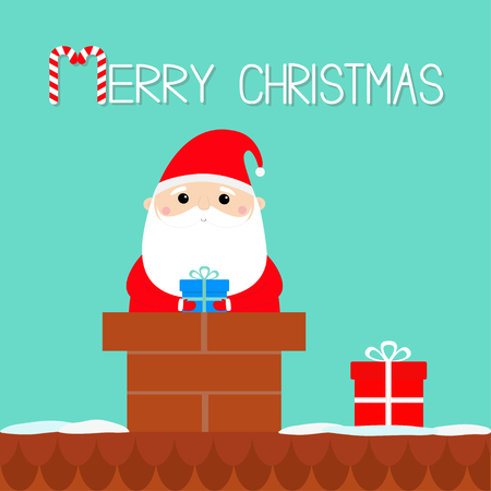Merry Christmas. Santa Claus on the roof chimney. Red hat, costume, beard, belt buckle, bag, gift box. Cute cartoon kawaii funny character. Blue background. Isolated. Greeting card. Flat design Vector