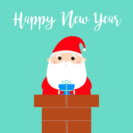 Happy New Year. Santa Claus in the roof chimney holding gift box. Red hat, costume, beard. Merry Christmas. Cute cartoon kawaii funny character. Blue background. Flat design. Vector illustration Ilustracja