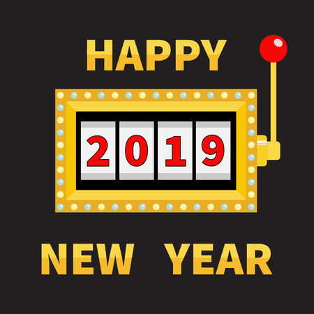Happy New Year 2019. Slot machine. Golden Glowing lamp light. Jackpot. Red handle lever. Big win Online casino, gambling club sign symbol. Merry Christmas. Flat design. Black background. Vector