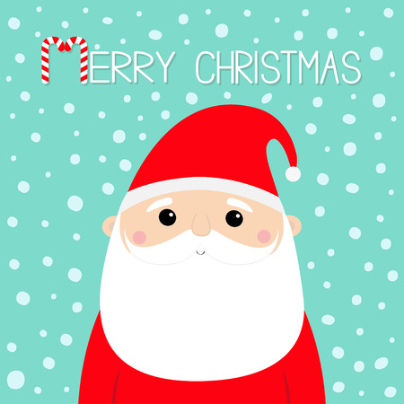 Merry Christmas. Santa Claus face head icon. Candy cane. New Year. Red hat. Moustaches, beard. Cute cartoon funny kawaii baby character. Flat design. Blue snow background. Vector illustration Illustration