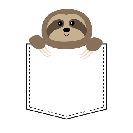Cute sloth face head in the pocket. Cartoon animals. Lazy character. Dash line. Animal collection. White and black color. T-shirt design. Baby background. Isolated. Flat design. Vector illustration