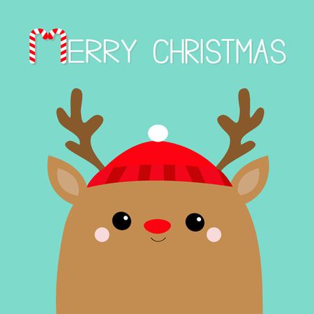Merry Christmas. Raindeer deer head face. Red hat, nose, horns. Happy New Year. Cute cartoon kawaii baby character. Funny animal. Flat design. Hello winter. Blue background. Vector illustration