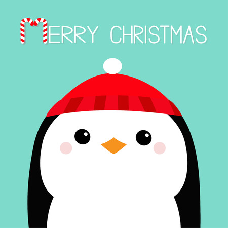 Merry Christmas. Penguin head face. Red hat. Happy New Year. Cute cartoon kawaii baby character. Arctic animal. Flat design. Hello winter. Blue background. Vector illustration Illustration