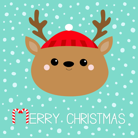 Merry Christmas. Raindeer deer round head face icon. Red hat, nose, horns. Happy New Year. Cute cartoon kawaii baby character. Funny animal. Flat design. Hello winter. Blue snow background. Vector Illustration