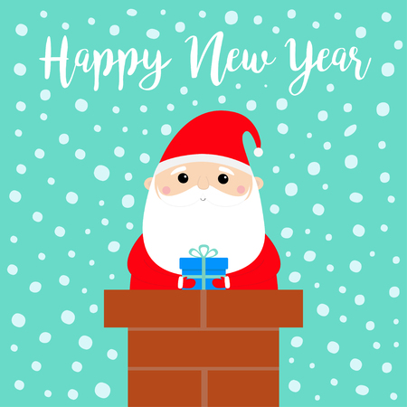 Happy New Year. Santa Claus on the roof chimney. Red hat, beard, costume, belt buckle, bag, gift box. Merry Christmas. Cute cartoon kawaii funny character. Blue snow background. Flat design. Vector