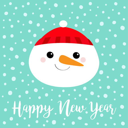 Happy New Year. Snowman round face head icon. Carrot nose, red hat. Cute cartoon funny kawaii character. Merry Christmas. Blue winter snow background. Greeting card. Flat design. Vector illustration