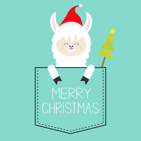 Merry Christmas. Alpaca llama sitting in the pocket. Santa hat. Fir tree. Face and hands. Cute cartoon character. Hello winter. Happy New Year. Blue background. Flat design. Vector illustration