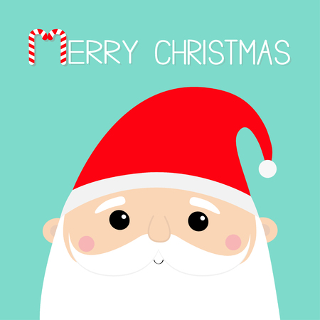 Merry Christmas. Santa Claus face head icon set. New Year. Red hat. Moustaches, beard. Cute cartoon funny kawaii baby character. Greeting card. Flat design. Blue background. Vector illustration