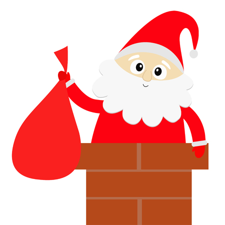 Santa Claus on the roof chimney. Red hat, costume, beard, belt buckle, bag. Merry Christmas. Cute cartoon kawaii funny character. White background Isolated. Greeting card. Flat design. Vector