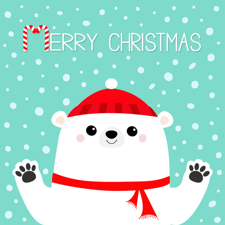 Merry Christmas. White polar bear holding hands paw print. Red winter scarf, hat. Cute cartoon funny baby character. Happy New Year. Flat design. Blue snow background. Greeting card. Vector