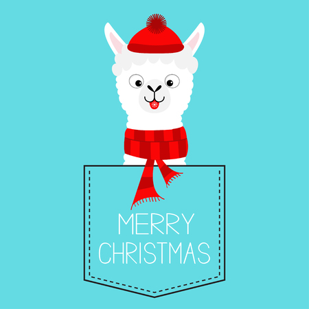Merry Christmas. Llama alpaca sitting in the pocket. Red hat, scarf. Face with tongue. Cute cartoon character. Hello winter. Happy New Year. Blue background. Flat design. Vector illustration