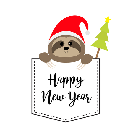 New Year. Cute sloth face head in the pocket. Santa hat. Fir tree. Cartoon animal. Lazy character. Dash line. White and black color. T-shirt design. Merry Christmas. Baby background Flat design Vector Stock Illustratie