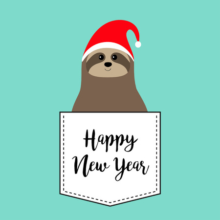 Happy New Year. Sloth sitting in the pocket, Red Santa Claus hat. Cute cartoon funny kawaii character. Merry Christmas. T-shirt, greeting card, poster print. Flat design. Blue background. Vector
