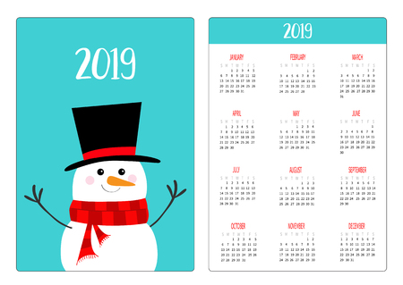 Snowman wearing black hat and redc scarf. Simple pocket calendar layout 2019 new year. Week starts Sunday. Cartoon character. Vertical orientation. Flat design. Blue background. Vector illustration