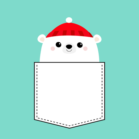 Polar white bear cub face. Red hat. T-shirt pocket. Merry Christmas. Happy New Year. Cute cartoon baby character. Arctic animal. Hello winter. Flat design. Hello winter. Blue background. Vector Çizim