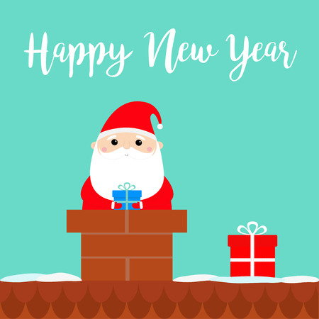 Happy New Year. Santa Claus on the roof chimney. Red hat, costume, beard, belt buckle, bag, gift box. Merry Christmas. Cute cartoon kawaii funny character. Blue background. Flat design. Vector