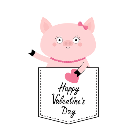 Happy Valentines Day. Pig face head in the pocket. Pink heart. Cute cartoon animals. Piggy piglet character. Dash line. White and black color. T-shirt design. Baby background. Flat design. Vector Illustration