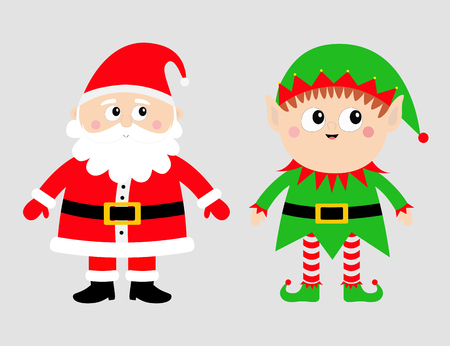 Santa Claus Elf set. Happy New Year. Merry Christmas. White moustaches, beard. Red green hat. Cute cartoon funny kawaii baby character. Greeting card. Flat design. Gray background. Vector illustration