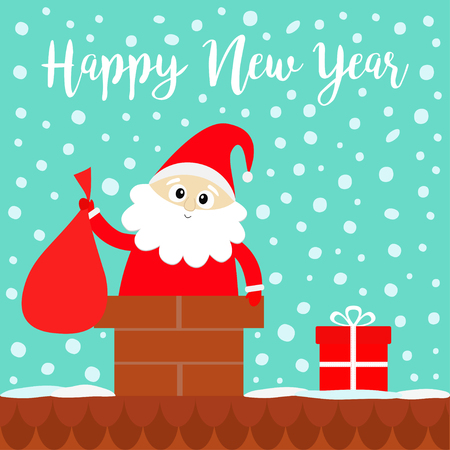 Happy New Year. Santa Claus in the roof chimney holding bag. Red hat, costume, beard, gift box. Merry Christmas. Cute cartoon kawaii funny character. Blue snow background. Flat design. Vector Zdjęcie Seryjne - 126541074