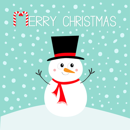 Merry Christmas. Snowman standing on snowdrift. Carrot nose, black hat. Happy New Year. Cute cartoon funny kawaii character. Greeting card. Blue winter snow background. Flat design Vector illustration