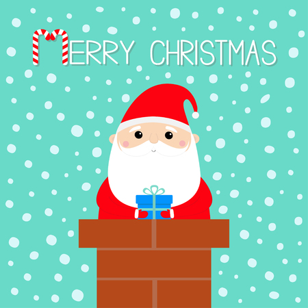 Merry Christmas. Santa Claus on the roof chimney. Red hat, beard, costume, belt buckle, bag, gift box. Happy New Year. Cute cartoon kawaii funny character. Blue snow background. Flat design. Vector Ilustracja