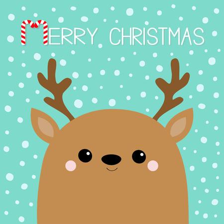 Merry Christmas. Raindeer deer head face. Big horns. Happy New Year. Cute cartoon kawaii baby character. Funny animal. Flat design. Hello winter. Blue snow background. Vector illustration
