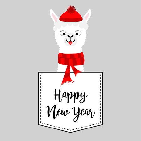 Happy New Year. Llama alpaca face head in the pocket. Red hat, scarf. Cute cartoon animals. Dash line. Kawaii character. White and black color. T-shirt design. Baby gray background. Flat design Vector