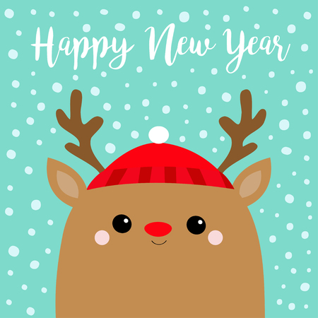 Happy New Year. Raindeer deer head face. Red hat, nose, horns. Merry Christmas. Cute cartoon kawaii baby character. Funny animal. Flat design. Hello winter. Blue snow background. Vector illustration