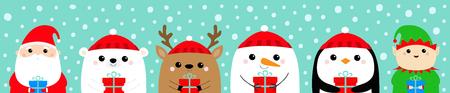 Santa Claus Elf White bear Snowman Raindeer Deer Penguin face icon set. Holding gift box. New Year. Merry Christmas. Cute cartoon funny kawaii baby character. Flat design Blue snow background. Vector