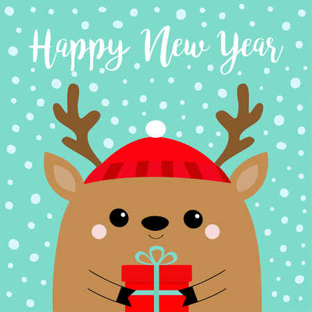 Happy New Year. Raindeer deer head face holding gift box. Red hat, nose, horns. Merry Christmas. Cute cartoon kawaii baby character. Funny animal. Flat design. Hello winter Blue snow background Vector Illustration
