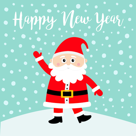 Happy New Year. Santa Claus on snowdrift. Merry Christmas. White moustaches, beard. Red hat. Cute cartoon funny kawaii baby character. Greeting card. Flat design. Blue snow background. Vector Ilustração