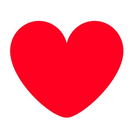 Rotes Herz-Symbol. Happy Valentines Day Zeichen Symbol einfache Vorlage. Nettes grafisches Objekt. Flacher Designstil. Liebe Grußkarte. Isoliert. Weißer Hintergrund. Vektor-Illustration
