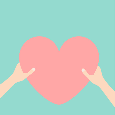 Hands arms holding pink heart icon shape sign. Happy Valentines day. Greeting card. Flat design style. Love soul gift concept. Close up body part. Blue background. Isolated. Vector illustration