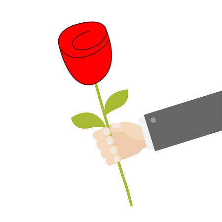 Businessman hand holding red rose flower. Giving gift concept. Cute cartoon character. Black suit. Happy Valentines Day. Greeting card. Flat design. White background. Isolated. Vector illustration