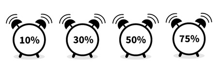 Alarm clock with percent sign. Round black icon set. Flat design. White background. Isolated. Vector illustration
