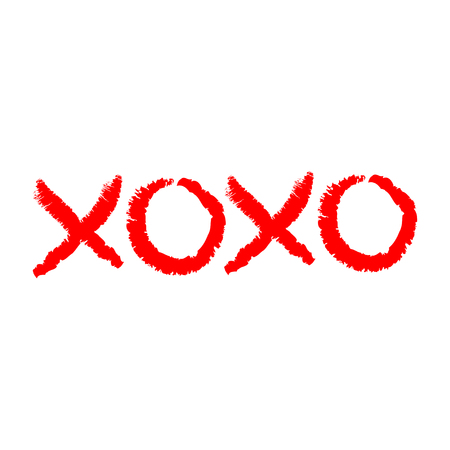 Xoxo phrase sketch saying. Hugs and kisses. Happy Valentines day sign symbol. Red color. Cute graphic object. Love greeting card. Flat design style. Isolated. White background. Vector illustration Ilustracje wektorowe