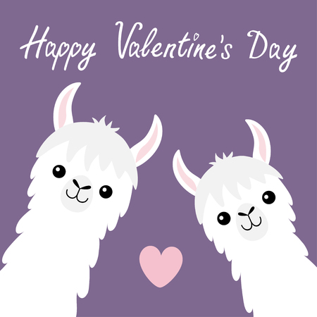 Happy Valentines Day. Llama alpaca animal set. Face neck. Pink heart. Fluffy hair fur. Cute cartoon funny kawaii baby character. Love greeting card. Flat design. Violet background Vector illustration