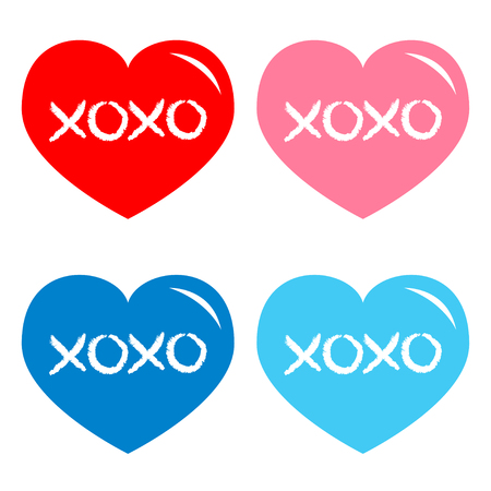 Red, blue, pink heart icon set. Xoxo phrase sketch saying. Hugs and kisses. Happy Valentines day sign symbol. Cute graphic object. Love greeting card. Flat design. Isolated. White background. Vector Çizim