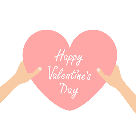 Happy Valentines day. Hands arms holding pink heart icon shape sign. Greeting card.Love soul gift concept. Close up body part. Flat design style. White background. Isolated. Vector illustration Illustration