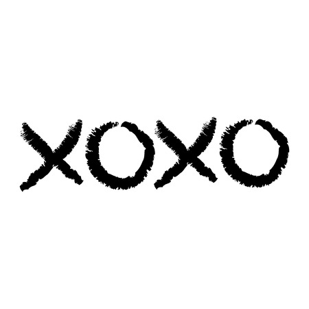 Xoxo phrase sketch saying. Hugs and kisses. Happy Valentines day sign symbol. Black color. Cute graphic object. Love greeting card. Flat design style. Isolated. White background. Vector illustration