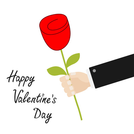 Happy Valentines Day. Businessman hand holding red rose flower. Giving gift concept. Cute cartoon character. Black suit. Love Greeting card. Flat design. White background Isolated. Vector illustration