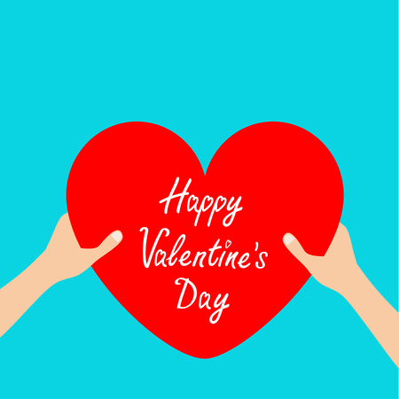 Happy Valentines day. Hands arms holding red heart icon shape sign. Greeting card. Flat design style. Love soul gift concept. Close up body part. Blue background. Isolated. Vector illustration