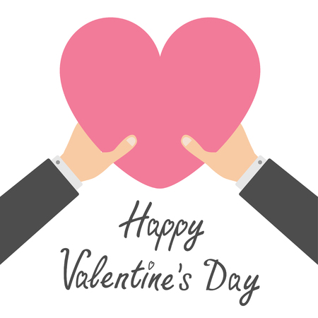 Happy Valentines day. Two businessman hands arms holding pink heart icon shape sign. Greeting card. Flat design style. Love soul gift concept. Close up body part. White background. Isolated. Vector
