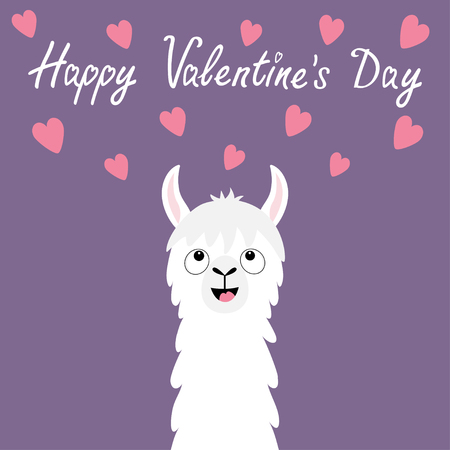 Happy Valentines Day. Llama alpaca animal face looking up to pink hearts. Cute cartoon funny kawaii smiling baby character. Love greeting card. Flat design. Violet background. Vector illustration