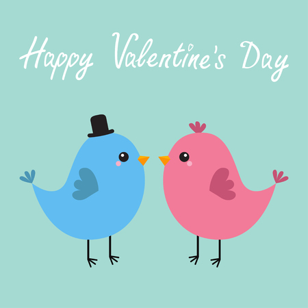 Happy Valentines Day. Two bird couple. Love Greeting card. Boy, girl. Black hat. Cute cartoon kawaii baby character. Flat design. Blue background. Vector illustration Illustration