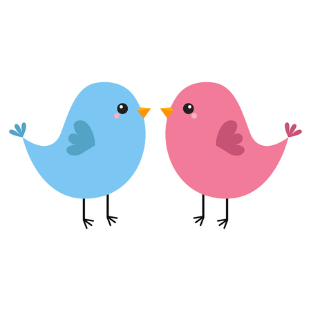Pink and blue bird couple. Happy Valentines Day. Love Greeting card. Cute cartoon kawaii baby character. Flat design. White background. Isolated. Vector illustration